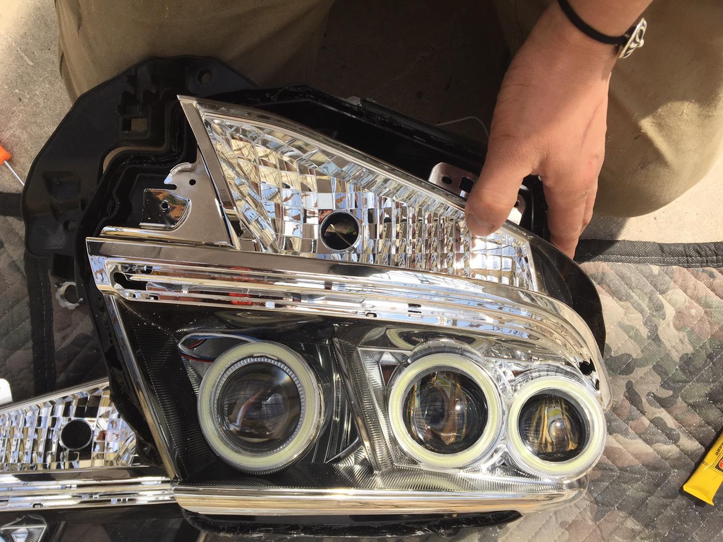 タントカスタム ヘッドライトプロジェクタ移植 イカリング取り付け施工後1