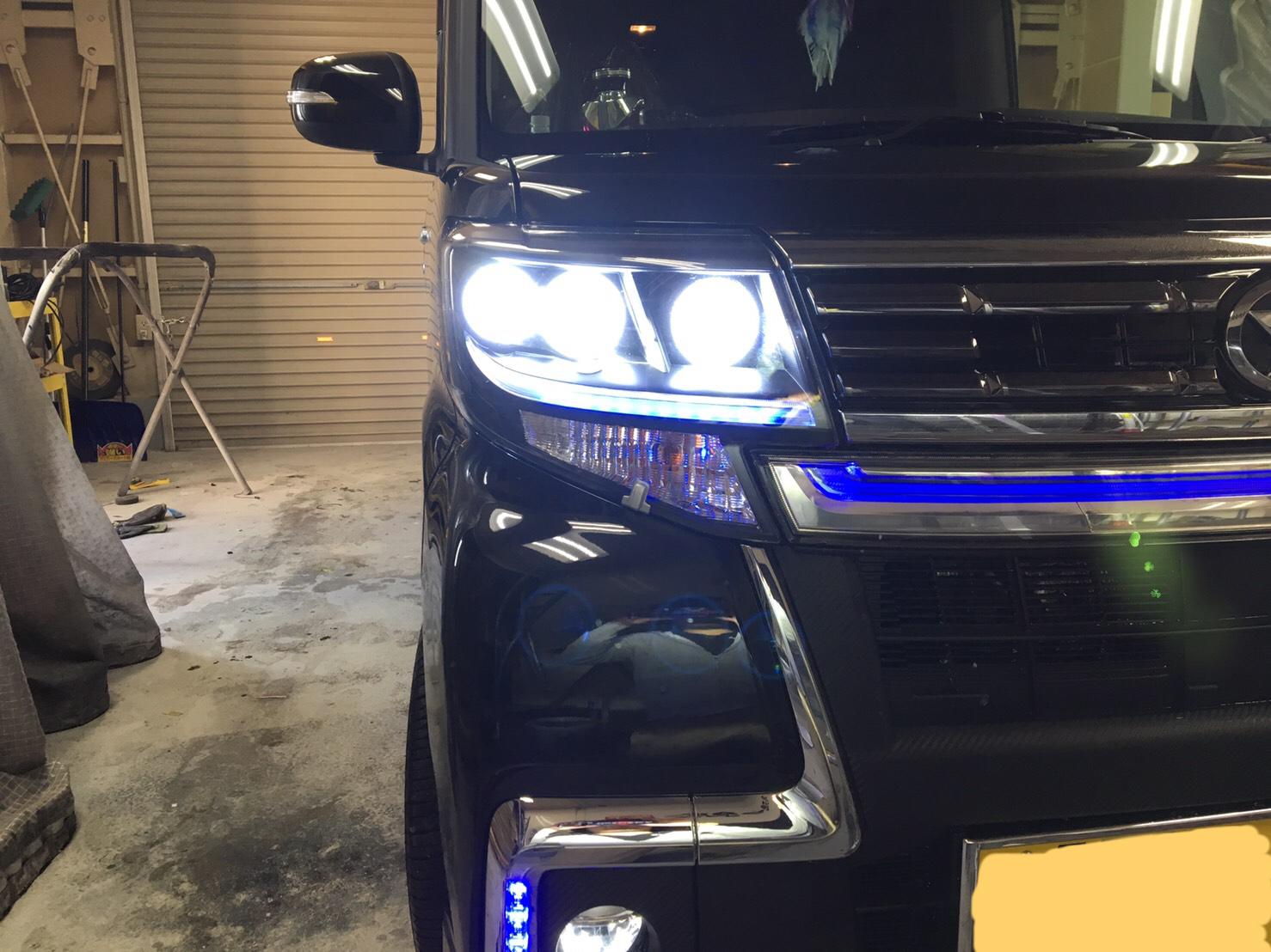 タントカスタム ヘッドライトプロジェクタ移植 イカリング取り付け施工後3